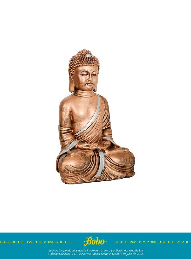 una estatua de Buda con las manos en el regazo que simboliza sabiduría, un complemento muy de moda en la decoración