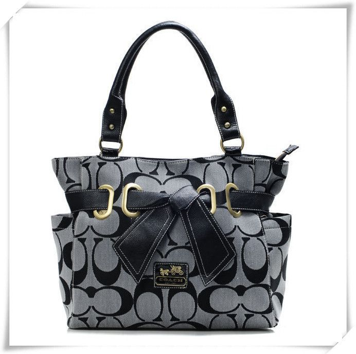 #Coach #Handbags Coach Poppy Bowknot Signature Medium Grey Totes ANC With High Quality And Reasonable Price Is Your Wise Option!