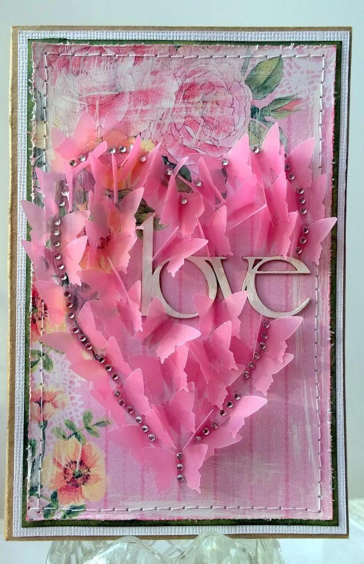 Easy valentine card. Простая в исполнении открытка.
