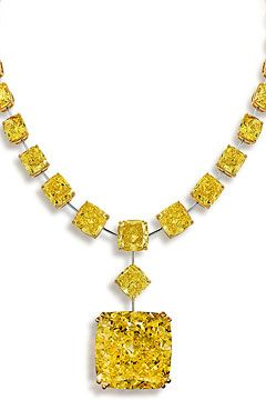 Gasp, over 90 carats of fancy intense yellow diamonds on this Graff necklace