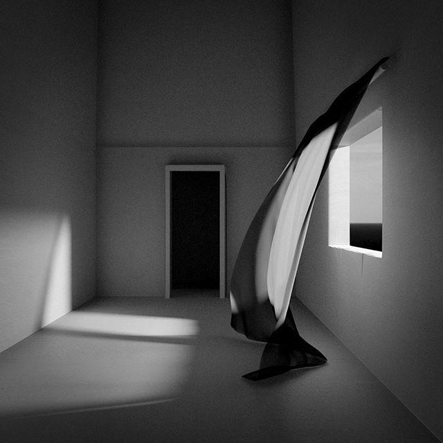 Room #bw #mustavalkoinen #huone #verho #curtain #Jason65kuutio #tyhjä #taide #art