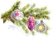 Рождественская акварельная карта с веточкой елей — стоковое фото #60037791