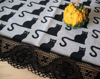 """Runner di lino tovaglia tela di ragno Halloween gatto nero lino grigio naturale pizzo 51 """"x 18,5"""""""