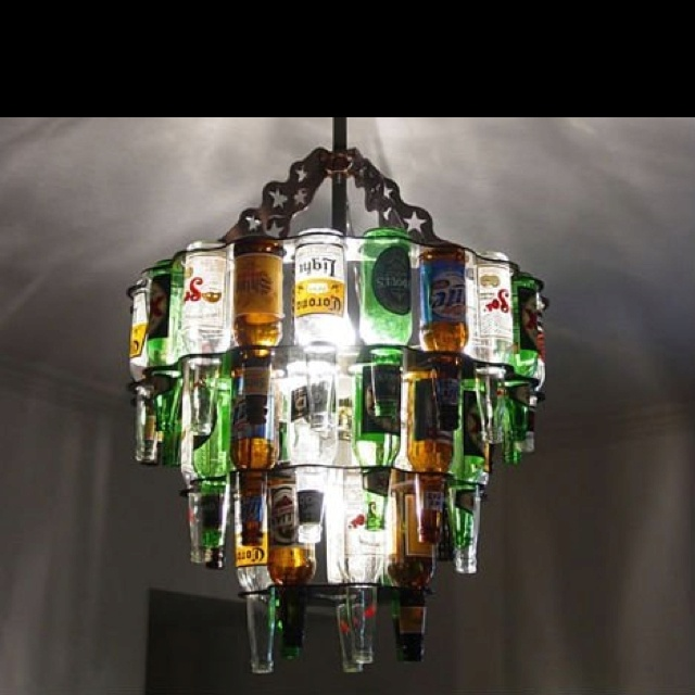 bottles chandelier: Games Rooms, Beer Bottle Chandeliers, Mancav, Man Room, Basements Bar, Pools Tables, Bar Area, Wine Bottle, Man Caves