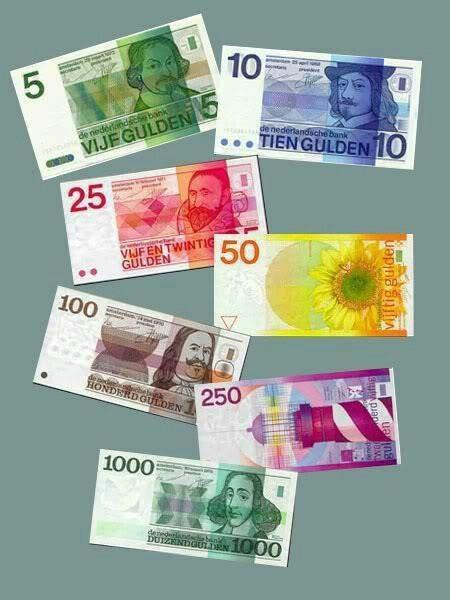 De laatste nieuwe gulden briefjes. Op de zg. erflaters-serie stonden: Joost vd Vondel op 5; Frans Hals op 10; Jan Pieterszn. Sweelinck op 25; admiraal Michiel Adriaanszn. de Ruyter op 100; Zonnebloem op 50; de Snip op 250 en de Vuurtoren op 1000. Poen om trots op te zijn dus!