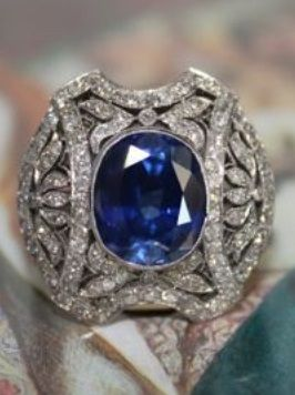 An Art Deco diamond and sapphire ring, circa 1920. Featuring a natural sapphire…