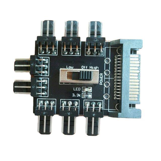 12V 1 to 8 3Pin Fan Hub Pwm Sata Molex Splitter PC Mining