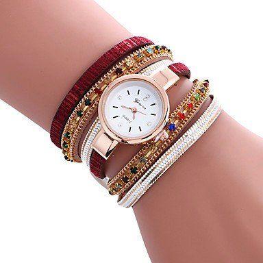 Trendy armbandhorloge goud-rosé goud rood veelkleuren