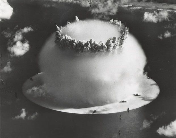 Bikini Atoll - World's First Underwater Nuclear Explosion. look how close the ships are!