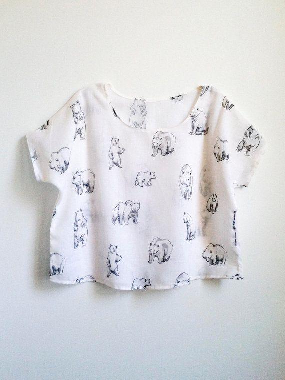 bear print top