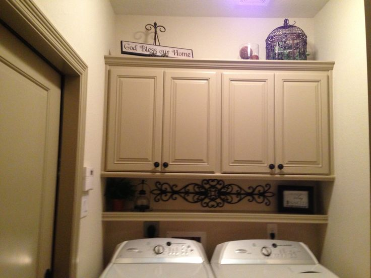 Diy shelf above washer dryer laundry pinterest for Shelf above washer and dryer