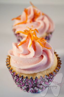 Blood Orange Buttercream Frosting with Pineapple cupcakes