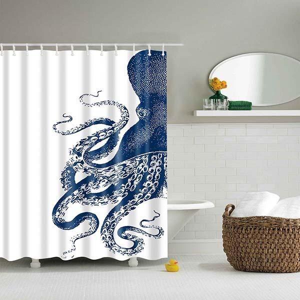 Dream Peacock Octopus Print Shower Curtain Vinyl Shower Curtains