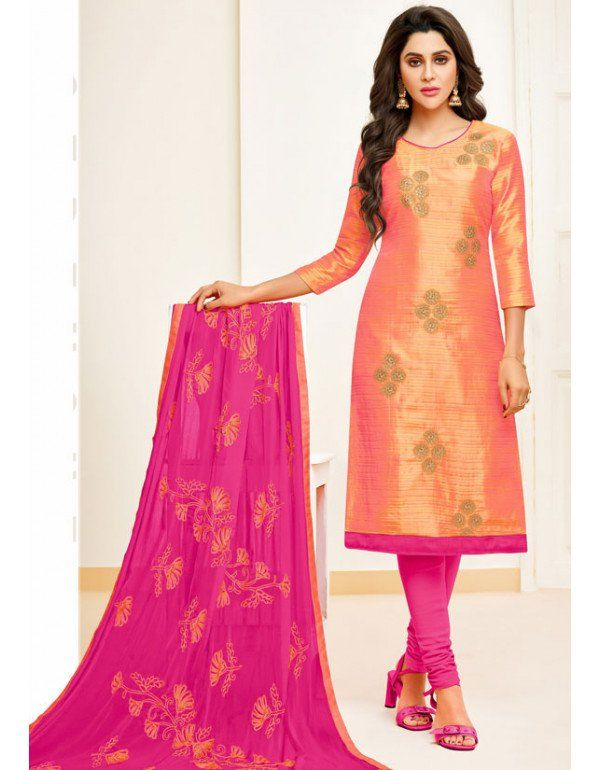 ba580b5aa4 Salmon Pink Banarasi Suit with Embroidered Dupatta in 2019 ...