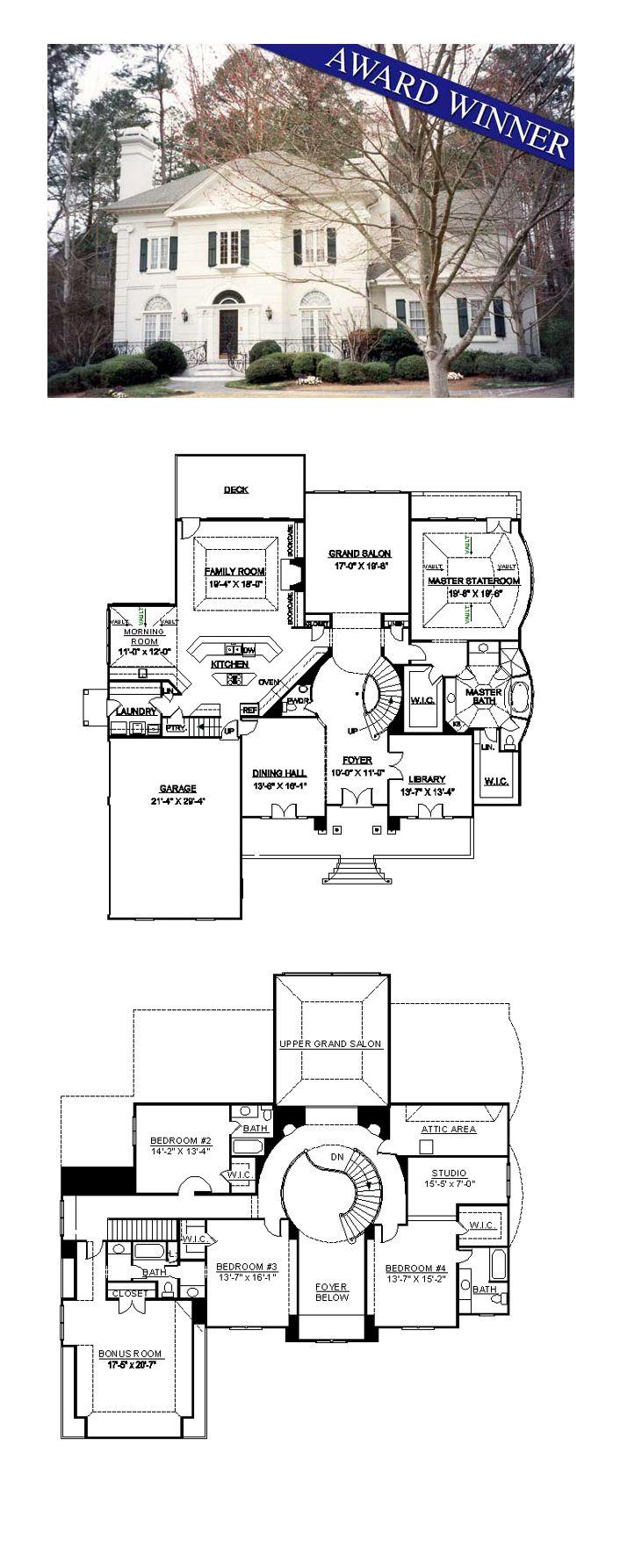 Greek Revival House Plan 98252   Total Living Area: 4364 sq. ft., 4 bedrooms and 4.5 bathrooms. #greekrevivalhome