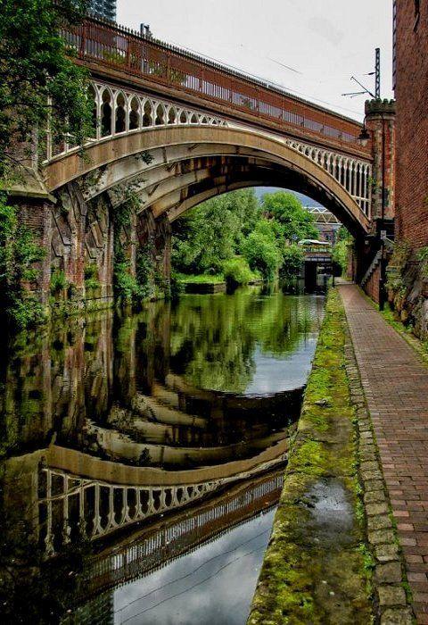 Reflection, Rochdale Canal, Manchester, England photo via sharon