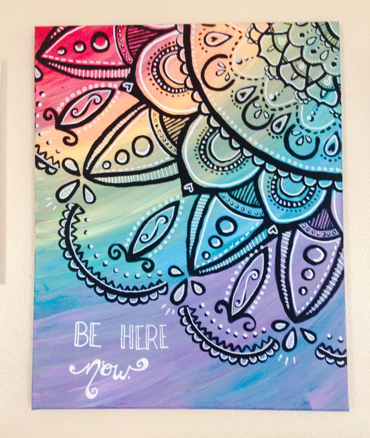 Orginial Acrylic Paintings // Mandala // Rainbow // Be Here Now // Canvas by AbraKayDabra on Etsy