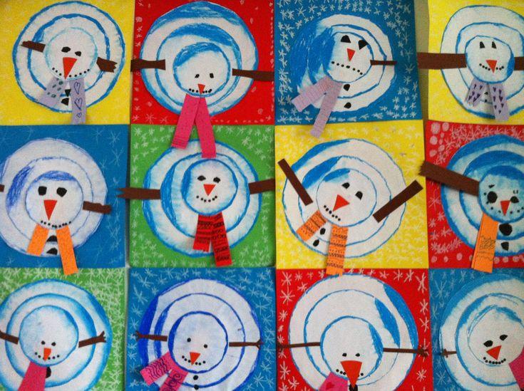 Sneeuwpop, ieder maakt zijn eigen, mag gek, wel bovenaanzicht.