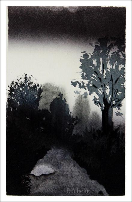 Evening Walk – Watercolour giclee print by  R.T.Brokstad