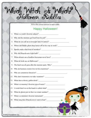 Fun Halloween Printable Games Work Activity Ideas