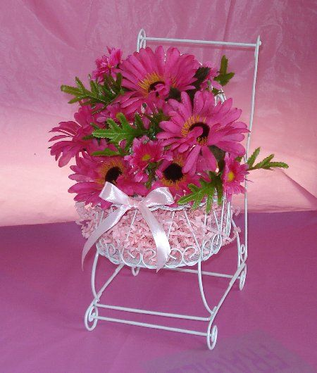 Pink flower centerpieces for baby shower