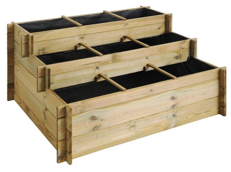 carr potager 3 tages up en pin 120x100x54cm sur jardindeco valdeblore - Jardin En Carre Bois