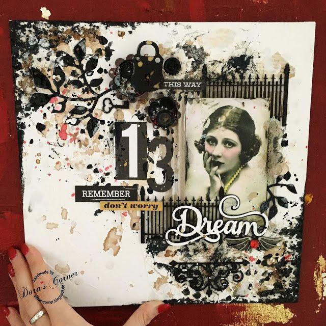 handmade layout scrapbooking distress crayons mixed media