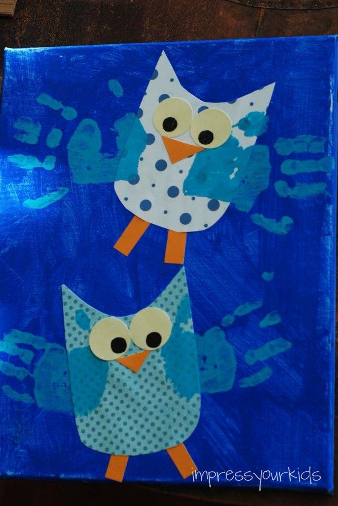 Owl Handprint Canvas