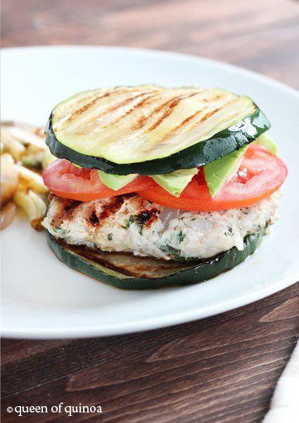 Herbed Turkey Burgers with Zucchini Buns -- and if you can't find zucchinis large enough, simply swap in eggplant!