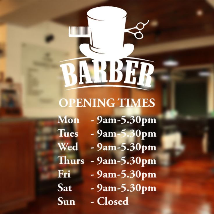 Barber Shop opening times wall sticker custom decal sign hairdresser salon bb10 in Business, Office & Industrial, Retail & Shop Fitting, Signs | eBay