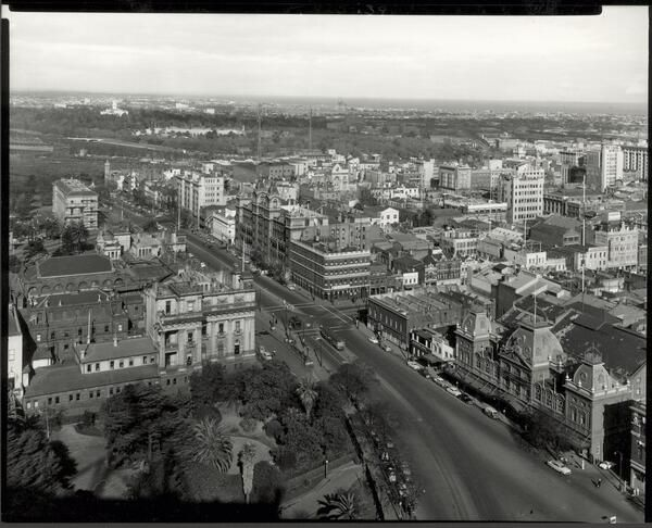 Aerial view of Spring Street, Melbourne, Victoria, 1957