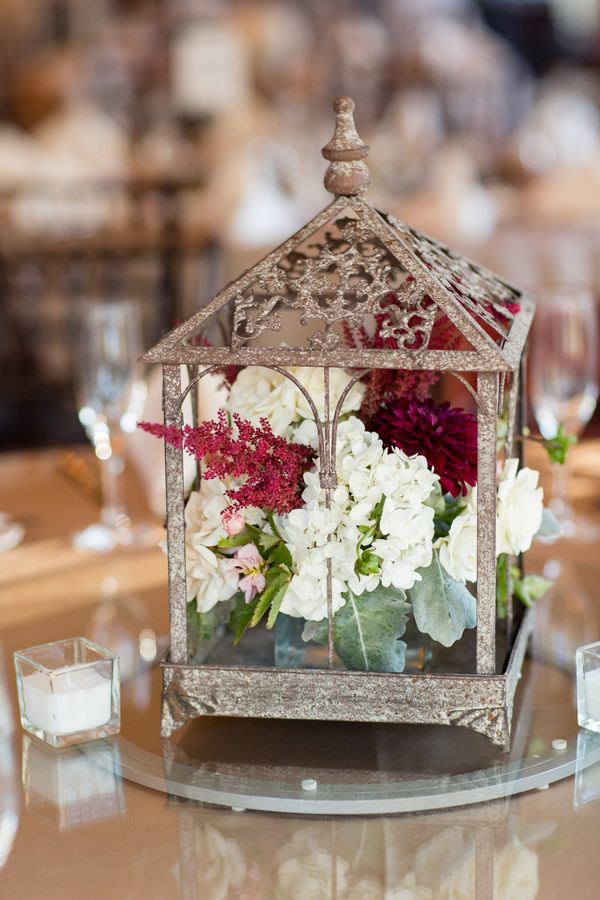 vintage marsala and aubergine wedding centerpieces