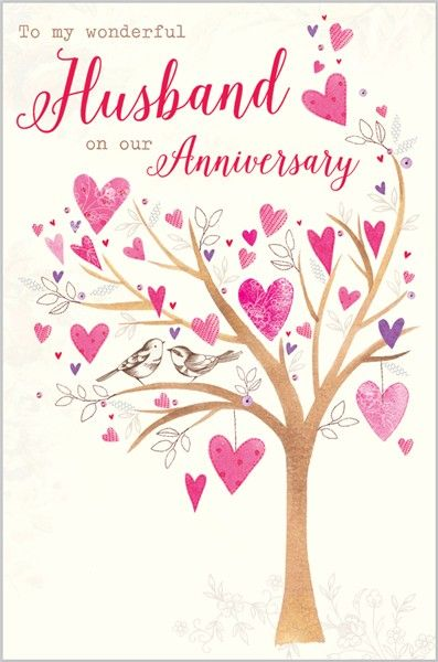Card Ranges » 7391 » Husband Anniversary - Tree of Hearts - Abacus Cards - Greetings Cards, Gift Wrap & Stationery