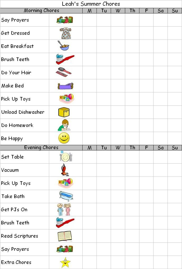 summer chore charts for kids! free printable