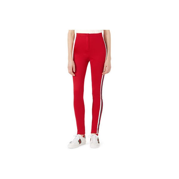 Gucci Jersey Stirrup Leggings with Sylvie Web ($890) ❤ liked on Polyvore featuring pants, leggings, bright red, red pants, high waisted leggings, red jersey, skinny pants and red high waisted leggings