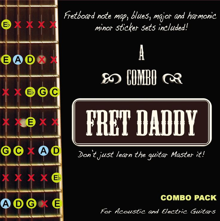Fret Daddy Combo Pack for Electric/Acoustic Guitar. Includes Fret Daddy's fretboard notemap (removable sticker set) as well as the A blues scale, the A harmonic minor scale, and the A major scale, all with note position indicators. Includes Fret Daddy Guitar Pick. Includes Fret Daddy promotional sticker. Note position indicators teach students the names of all the notes on the fretboard. The easiest way to learn and understand the fretboard of the guitar.