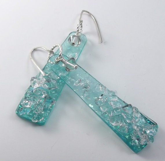 Love these, even if I did make them!  Fused Dichroic Glass Aqua Turquoise Pierced by Mtbaldyglassworks, $24.00