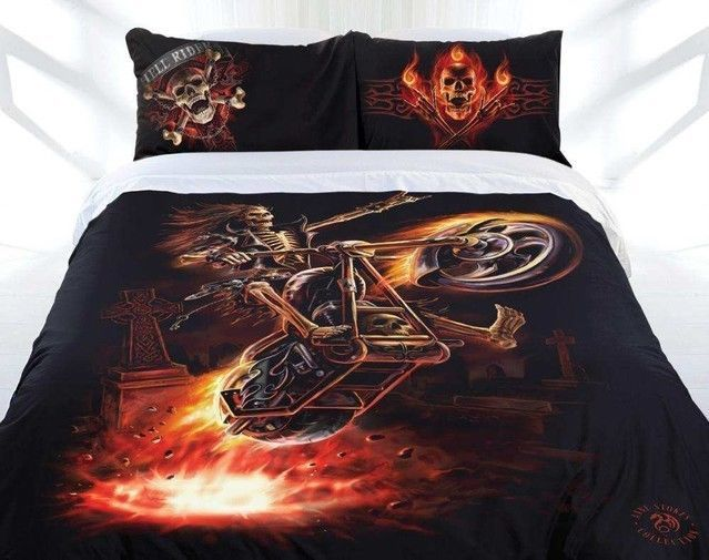 Anne Stokes Gothic HELL RIDER Harley Motorcycle KING Size Quilt Doona Cover Set #AnneStokes