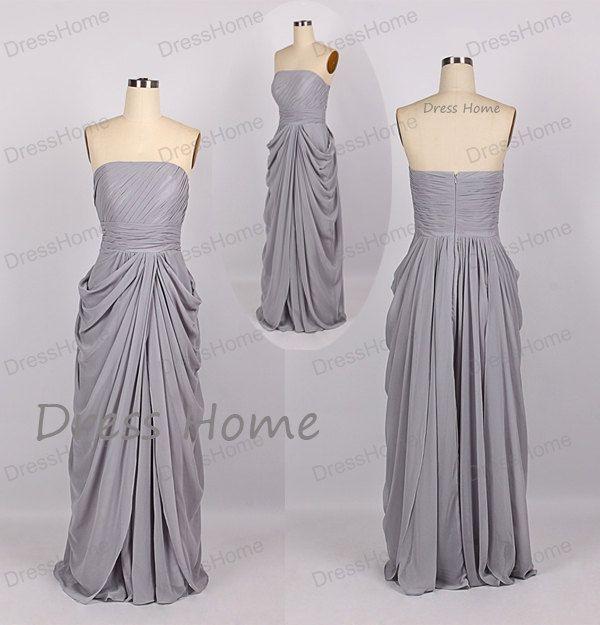Grey Strapless Bridesmaid Dress Cheap Long Grey by DressHome, $99.00