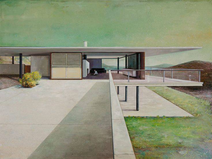 Modern architecture, the subject of these paintings by artist Jens  Hausmann. Paintings that depict