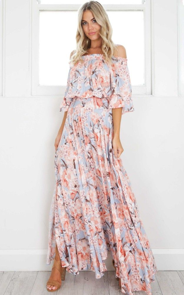 Leah Maxi Dress In Peach Floral Produced