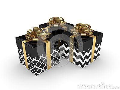 3d rendering of black gift boxes with golden ribbons  over white background