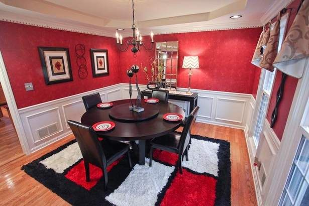 I Love This Black Red And White Themed Dining Room