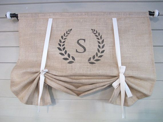 Monogram Natural Burlap 36 Inch Long Stage Coach Blind Swedish Roll Up Shade Tie Up Curtain Swag Balloon