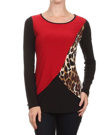 Look at this #zulilyfind! Red & Brown Jaguar Color Block Top #zulilyfinds