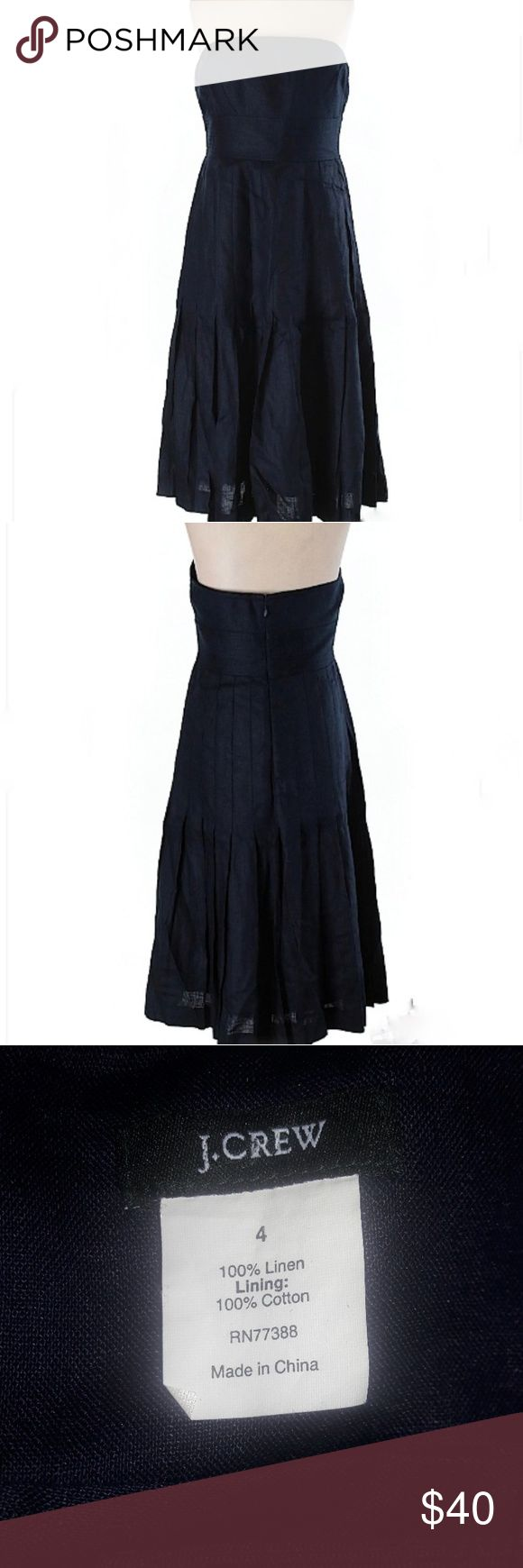 New J. Crew Lined Linen Dress Strapless Navy Blue New, never worn size 4 J Crew 100% linen navy blue casual strapless dress. Is pleated from the waist down. Lining is 100% cotton. Laying flat, underarm to underarm is approximately 15 inches.  From top to bottom, dress is approximately 32 inches in length. All items are from a pet free, smoke free home and will ship same or next day. J. Crew Dresses Strapless