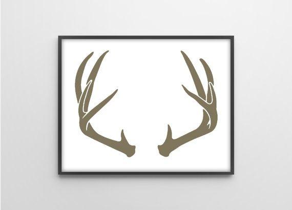 Antlers Silhouette - Deer Nursery Art Print - Modern ...