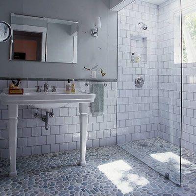 River stone floorPebble Floors, River Rocks, Rivers Rocks, Tile Shower, Glasses Shower, Master Bath, Bathroom Ideas, Glasses Doors, Subway Tiles