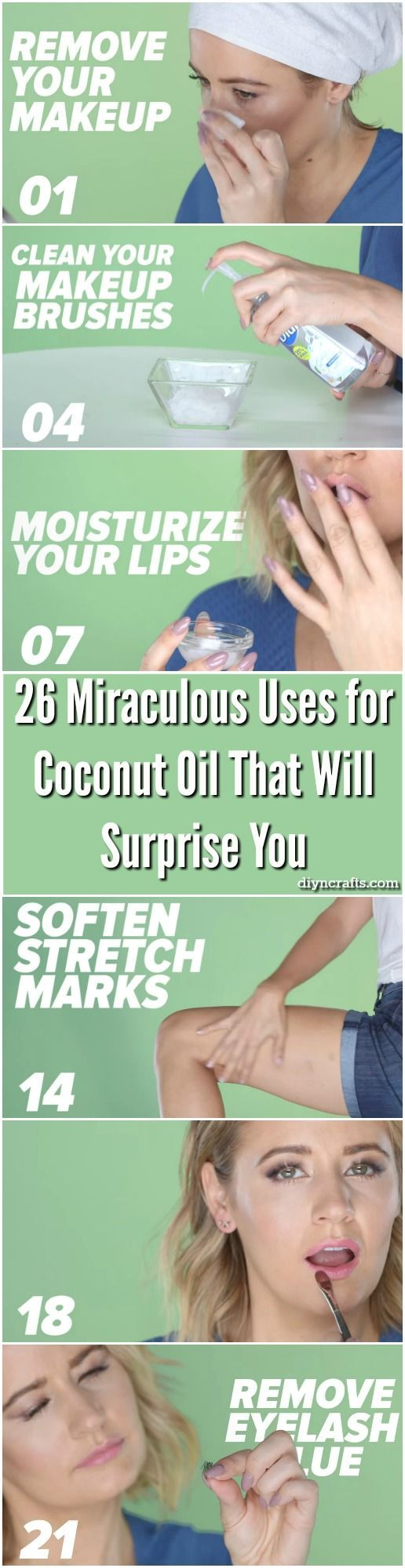 26 Miraculous Uses for Coconut Oil That Will Surprise You - A jar of coconut oil is one of the best investments you can make. For just a few dollars, you get a jar of oil which you can do literally hundreds of different things with. It is excellent for cooking, hygiene, personal health, household cleaning, and so much more. via /vanessacrafting/