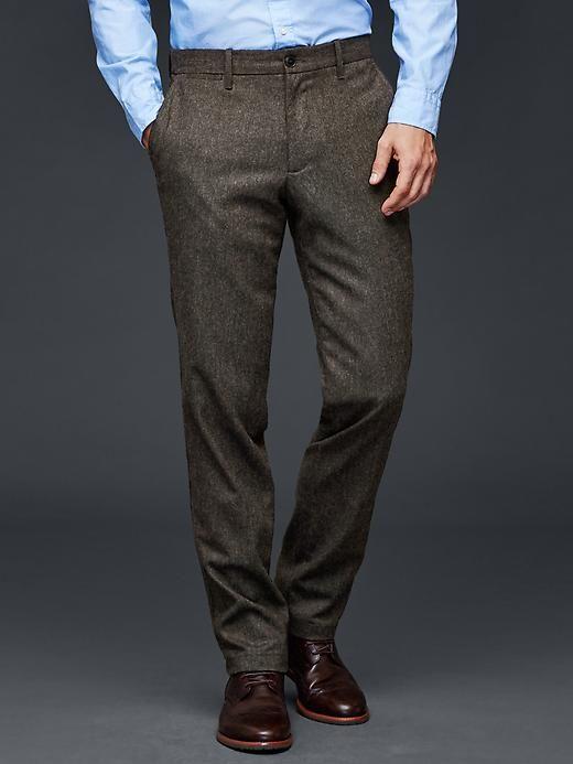 Herringbone wool-blend pants (straight fit)